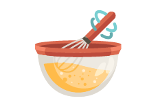 mixing bowl and whisk icon